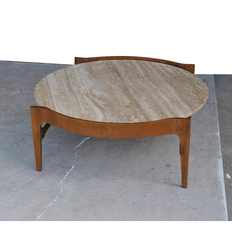 Mid-Century Modern Midcentury Bertha Schaefer Travertine and Walnut Round Coffee Table For Sale