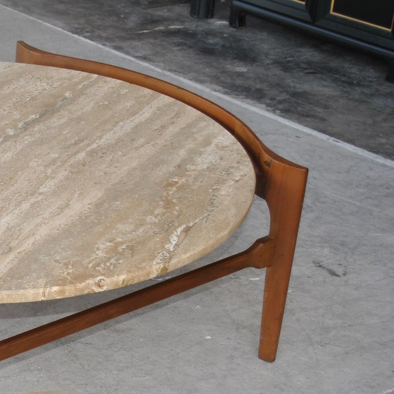 North American Midcentury Bertha Schaefer Travertine and Walnut Round Coffee Table For Sale