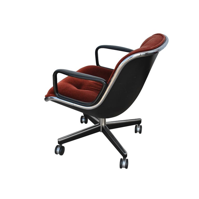 Mid-Century Modern Vintage Midcentury Rust Mohair Pollock Chair For Sale