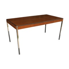 Vintage Midcentury Table Desk Oak Chrome by Davis Allen