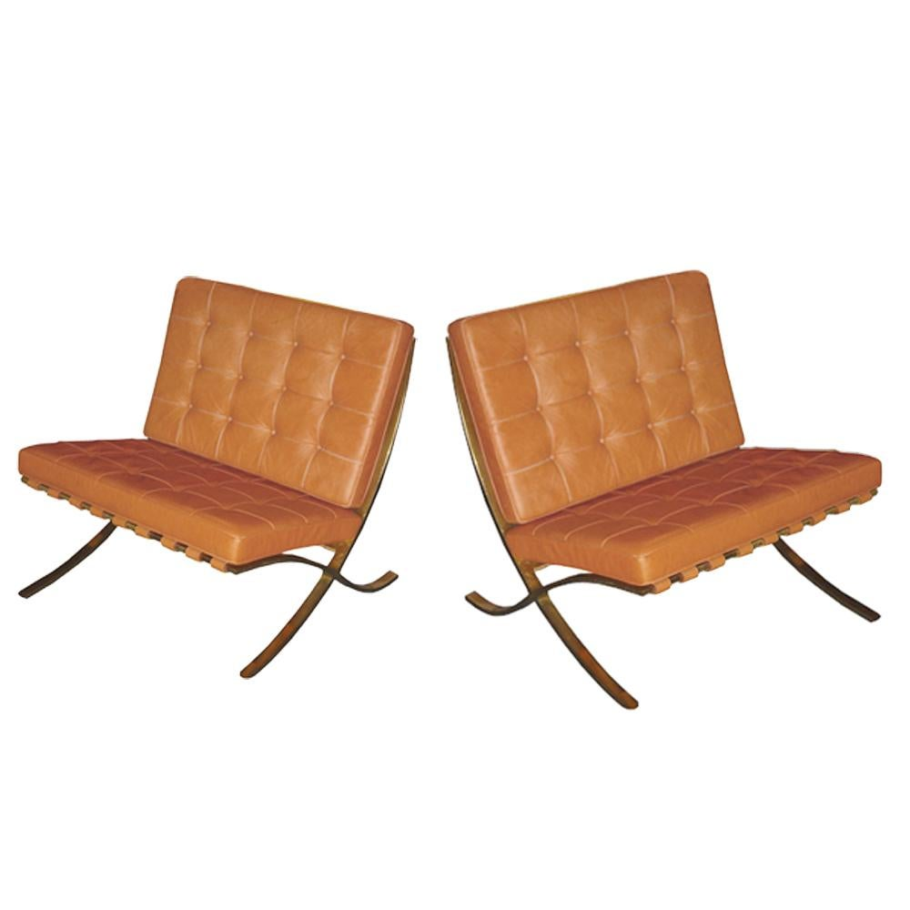Pair Of Vintage Brass Barcelona Chairs Designed By Mies Van Der Rohe For  Knoll For Sale