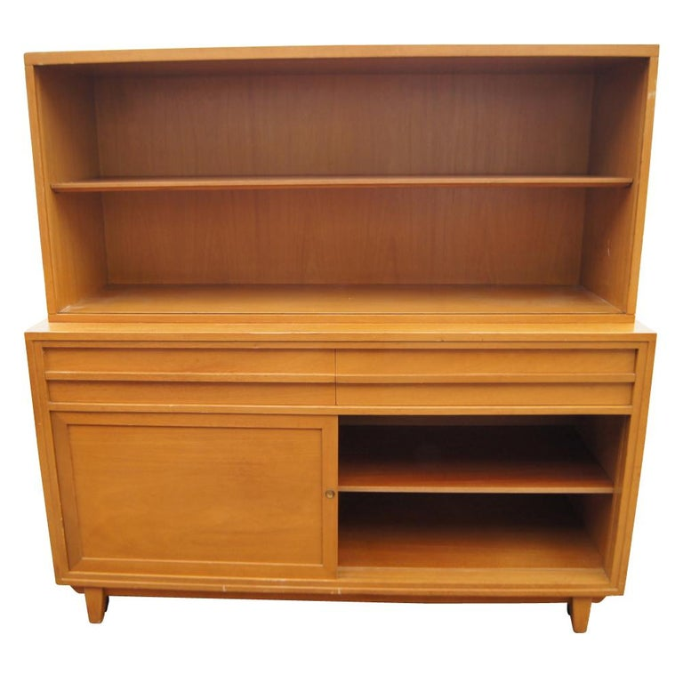 Mid-Century Modern Vintage Mahogany Breakfront Four Shelves For Sale