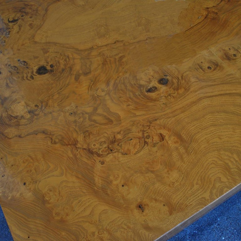 Midcentury Milo Baughman Burled Coffee Table In Good Condition For Sale In Pasadena, TX
