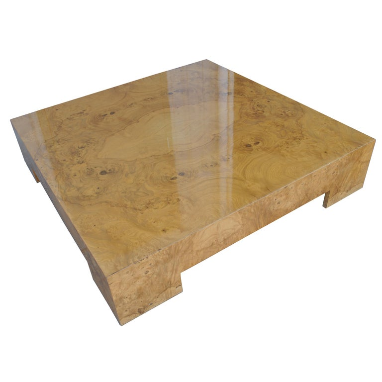 Midcentury Milo Baughman Burled Coffee Table For Sale