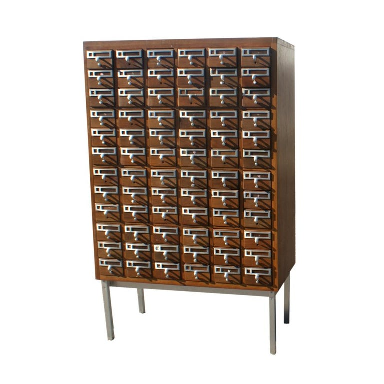 Vintage Midcentury Library Card Catalogue Cabinet For Sale - Vintage Midcentury Library Card Catalogue Cabinet For Sale At 1stdibs