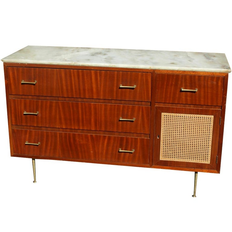 Vintage Cane Marble Dresser