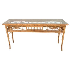 Vintage English Bamboo Sofa Console Table