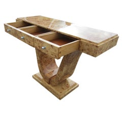 Art Deco Style Three Drawer Maple Burl Console Table