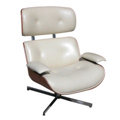 Vintage Mid Century Plycraft Leather Lounge Chair