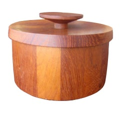 Vintage Jens Qistgaard for Dansk Teak Ice Bucket with Tongs