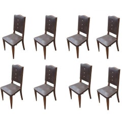 Set of Eight Vintage Italian High Back Dining Chairs