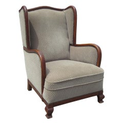 Vintage Art Deco Wing Armchair
