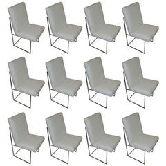 One High Back Leather and Chrome Chair Designed by Milo Baughman