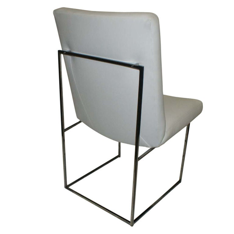 One High Back Leather and Chrome Chair Designed by Milo Baughman In Excellent Condition For Sale In Pasadena, TX