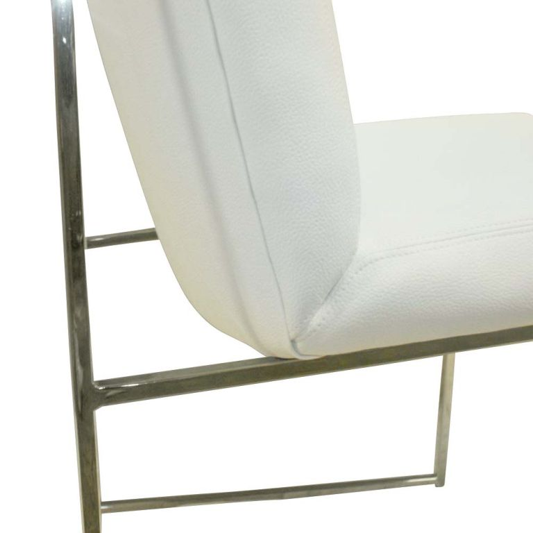 Late 20th Century One High Back Leather and Chrome Chair Designed by Milo Baughman For Sale