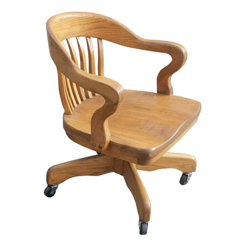 American Oak Bank of England Chair For Sale