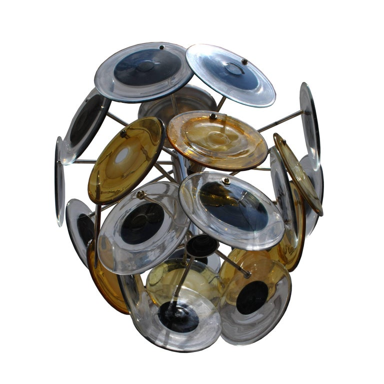Blown Glass Mid-Century Modern Italian Murano Vistosi Glass Disc Chandelier For Sale