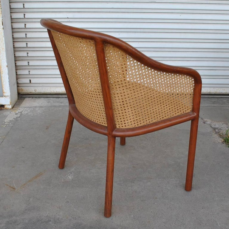 Vintage Pair of Cane Chairs by Ward Bennett for Brickel Associates In Good Condition For Sale In Pasadena, TX