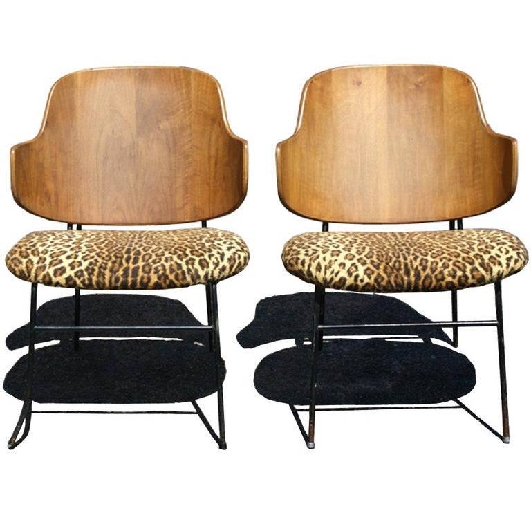 20th Century Two Vintage Danish Larsen Kofod Penguin Lounge Chairs For Sale