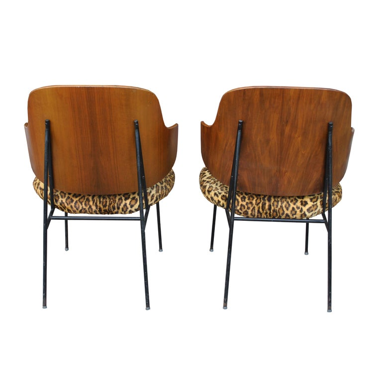 Wrought Iron Two Vintage Danish Larsen Kofod Penguin Lounge Chairs For Sale