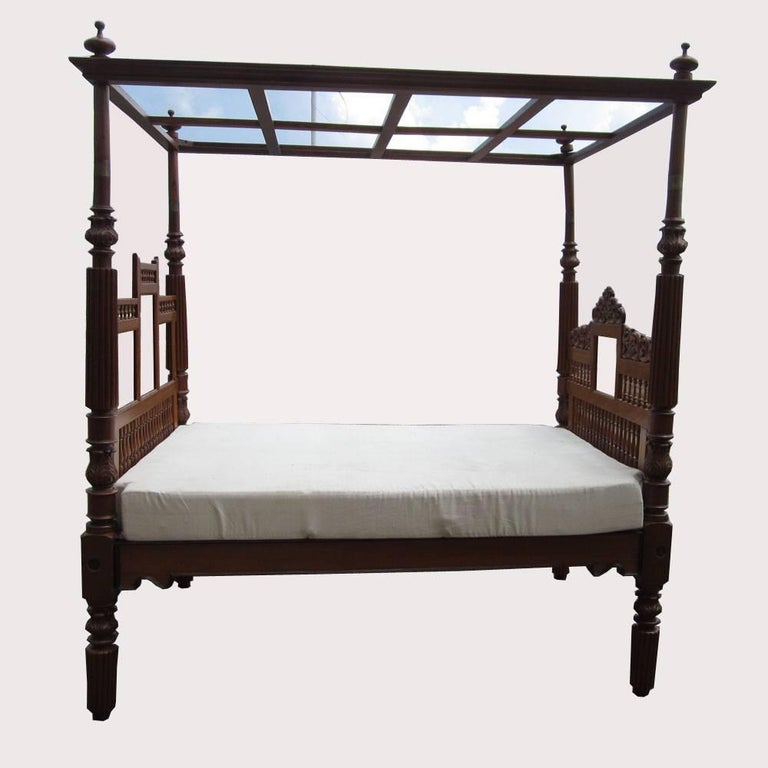 Mattress Pasadena Vintage Indian Bed with Canopy For Sale at 1stdibs