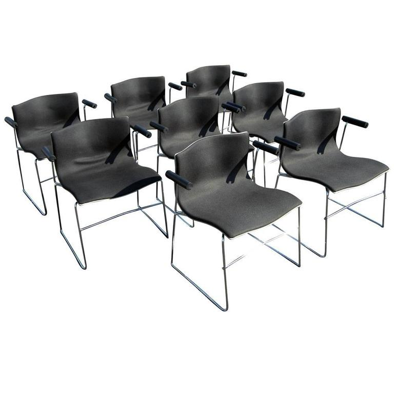 Vintage set of (8) eight Knoll Handkerchief armchairs by Massimo Vignelli  Inspired by the lightness and organic ease of a handkerchief drifting in the wind.Fantastic chairs with ergonomic wide seat comfort and armrests