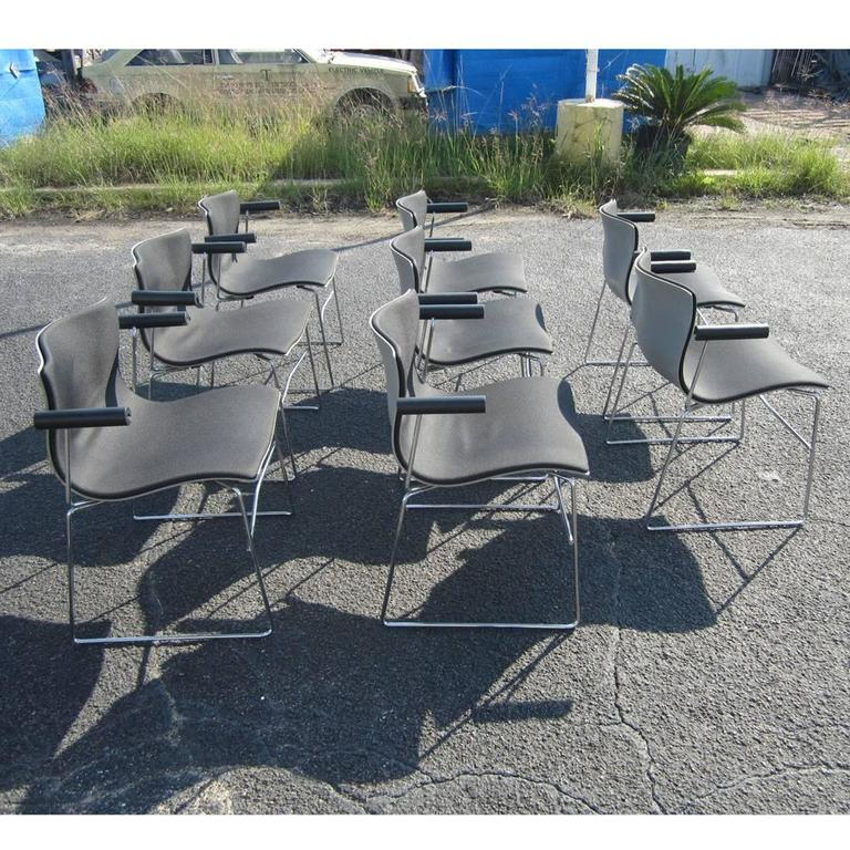 Chrome Vintage Set of Eight Handkerchief Armchairs by Vignelli for Knoll For Sale
