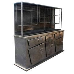 Vintage Sculptural Postmodern Metal Breakfront Display Cabinet