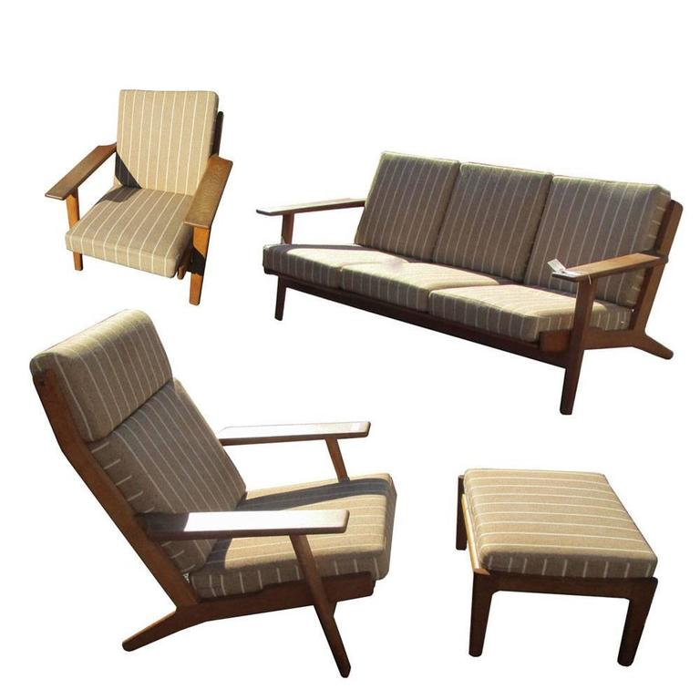 Vintage Midcentury Hans Wegner Lounge Chair With Ottoman