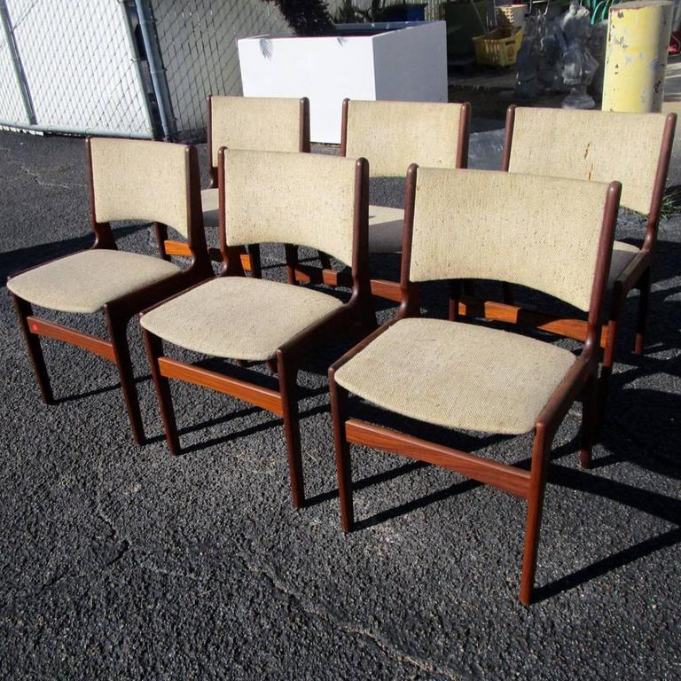 Mid Century Modern Vintage Set Of Six Midcentury Rosewood Dining Chairs By Erik Buch For