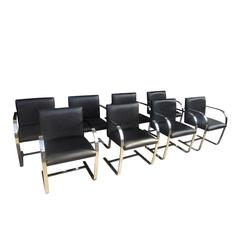 Vintage Set of Eight Mies Van Der Rohe Black Leather Brno Classics Armchairs