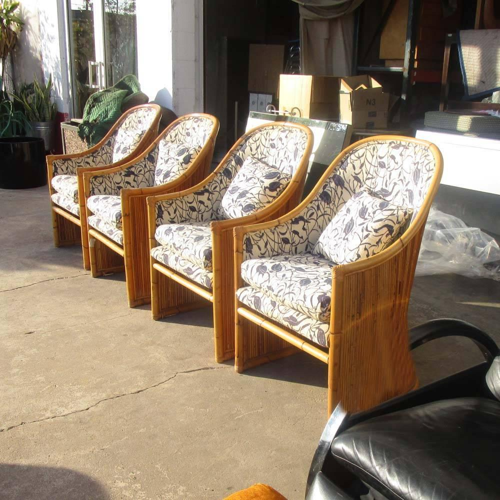 Vintage Mid Century Mcguire Rattan Dining Chairs Reduced