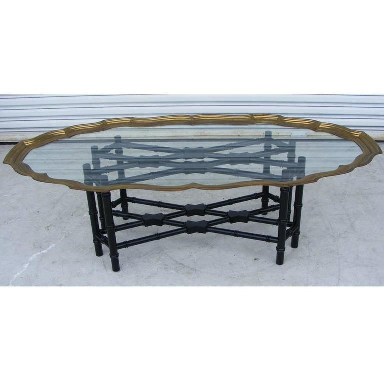 Brass Faux Bamboo Coffee Table: Baker Faux Bamboo Coffee Table For Sale At 1stdibs