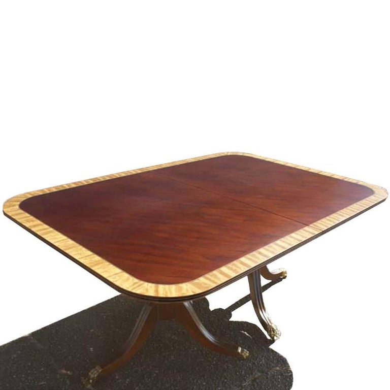 Henredon Walnut And Mahogany Dining Conference Table For