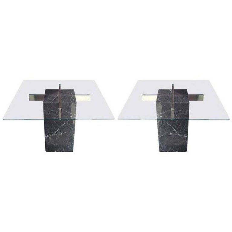 Pair of Italian Artedi Marble Glass Side Tables For Sale