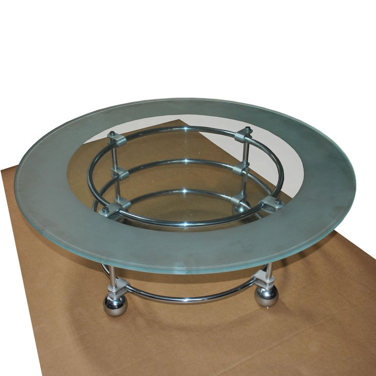 American Jay Spectre for Century Furniture Chrome and Glass Coffee Table For Sale