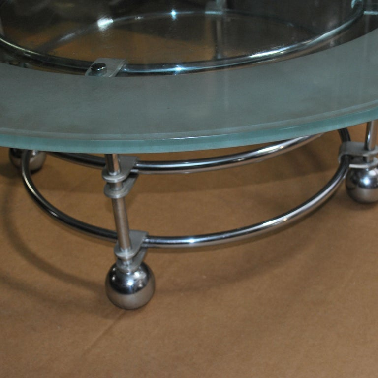 Jay Spectre for Century Furniture Chrome and Glass Coffee Table In Good Condition For Sale In Pasadena, TX