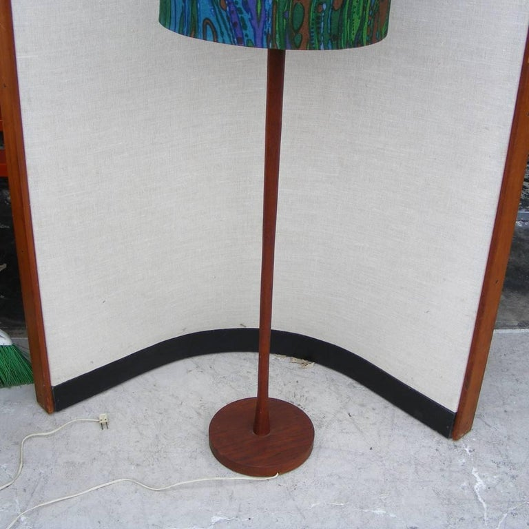 Mid-Century Modern Vintage Mid-Century Teak Floor Lamp with Jack Larsen Style Shade 'MR15257' For Sale