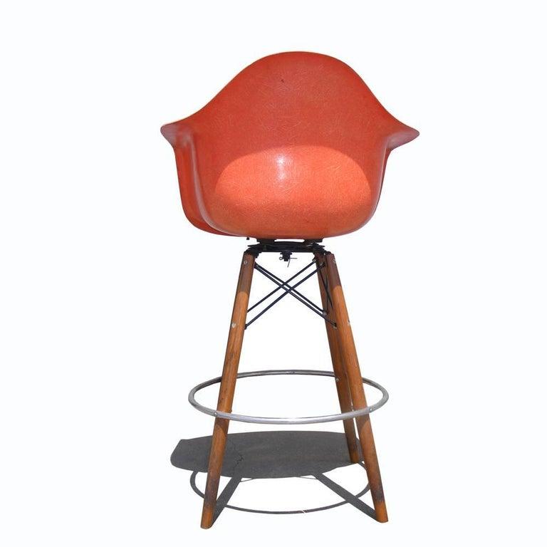 1 Vintage Mid-Century Eames H Miller Fiberglass Arm Shell Chair Walnut Bar Stool 2