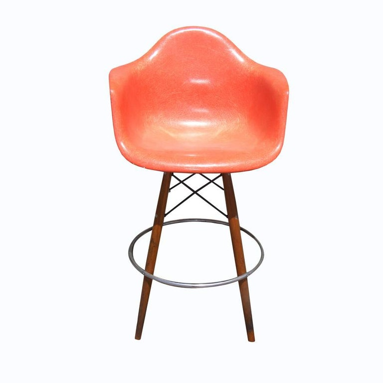 Mid-Century Modern 1 Mid-Century Eames Herman Miller Fiberglass Arm Shell Chair Walnut Bar Stool For Sale