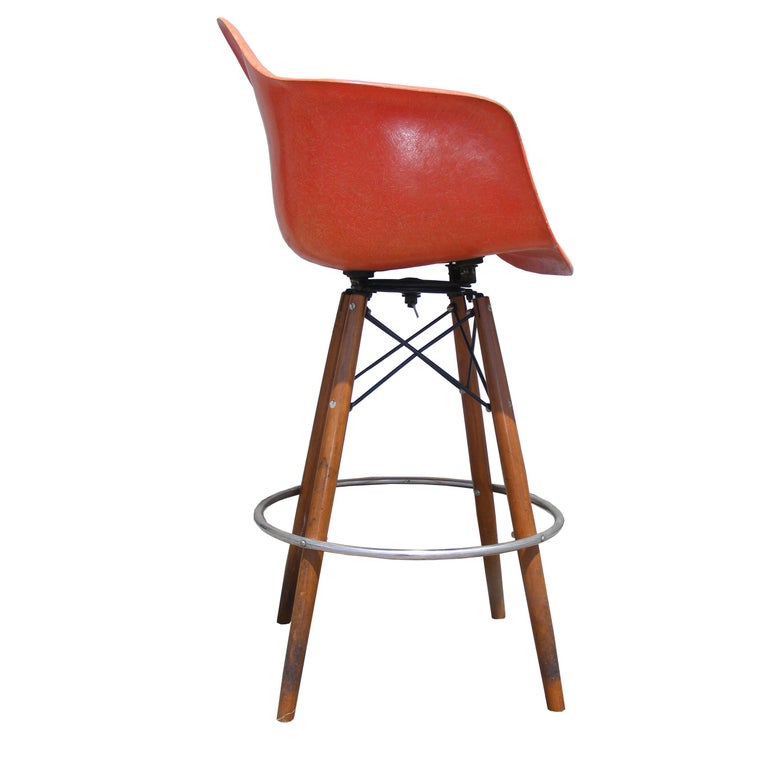 American 1 Mid-Century Eames Herman Miller Fiberglass Arm Shell Chair Walnut Bar Stool For Sale