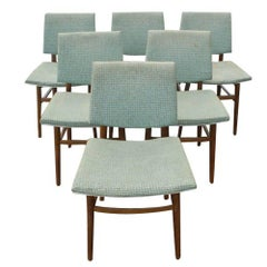 Six Vintage Scandinavian Dining Side Chairs Set