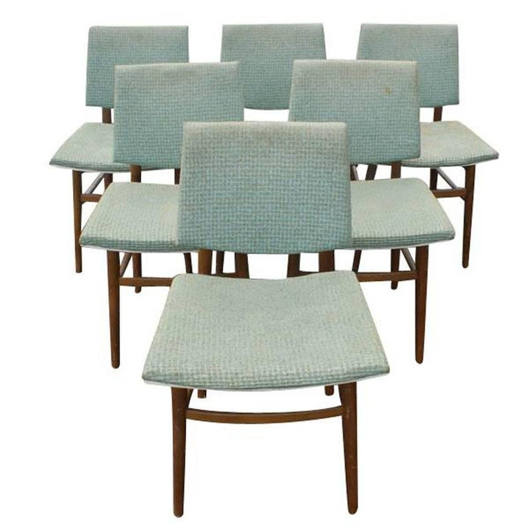 Six Vintage Scandinavian Dining Side Chairs Set