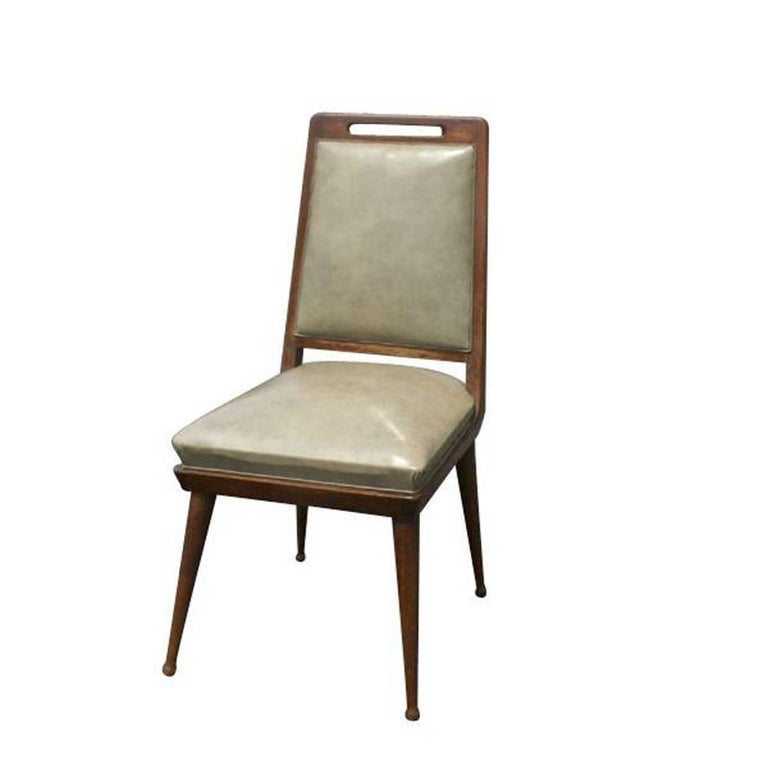 6 Italian Mid Century Modern Dining Chairs  Solid Wood Frame   Tapered Legs  Refinished