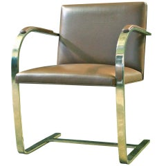 One Brass Flat-Bar Brno Chairs by Mies Van Der Rohe
