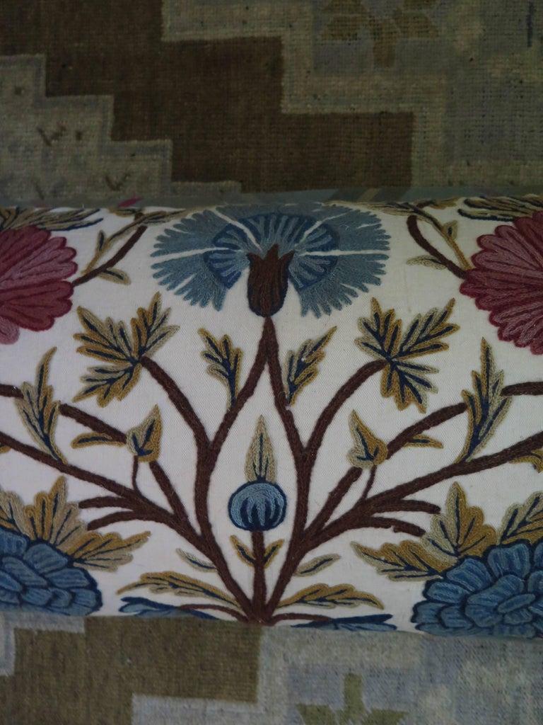 Long Lumbar Crewel Pillow For Sale 1