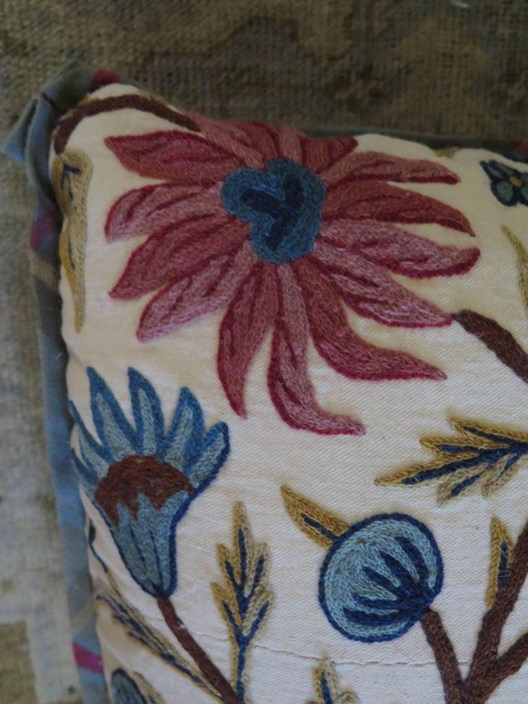Long Lumbar Crewel Pillow For Sale 3