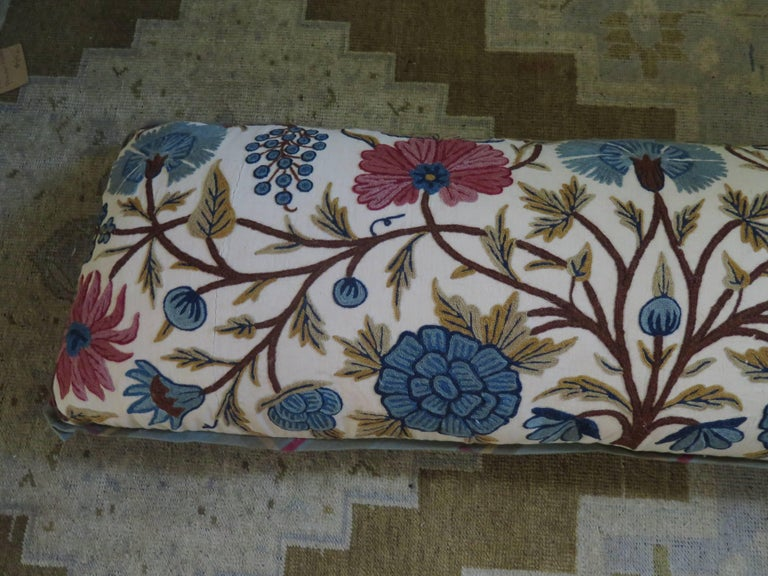 Long Lumbar Crewel Pillow In Excellent Condition For Sale In Houston, TX