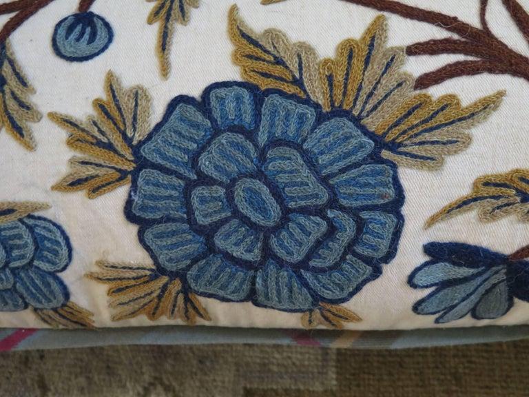 19th Century Long Lumbar Crewel Pillow For Sale
