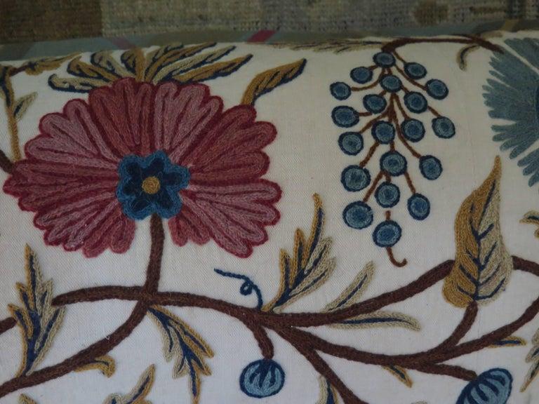 Long Lumbar Crewel Pillow For Sale 2